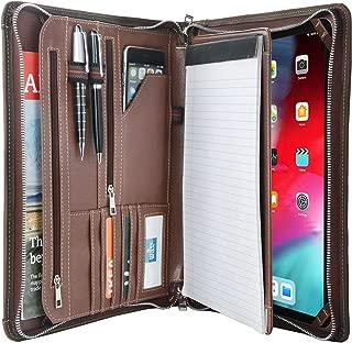 Vintage Crazy-Horse Leather Portfolio for iPad 12.9-inch 2018, Handmade Padfolio Case Business Zipper Organizer Folder