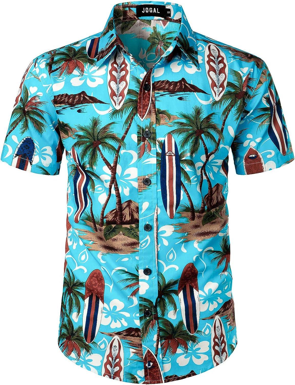 JOGAL Men's Beach Aloha Casual Button Down Short Sleeve Hawaiian Shirt