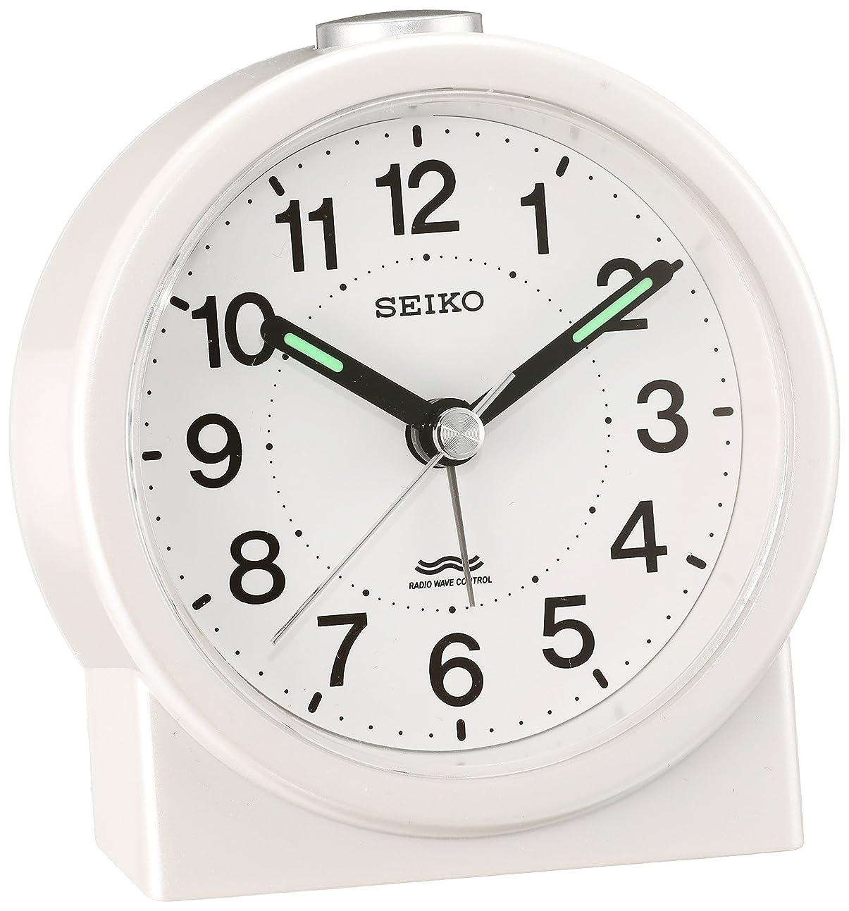 シネマ追記泳ぐセイコー クロック 目覚まし時計 電波 アナログ 白 パール KR325W SEIKO
