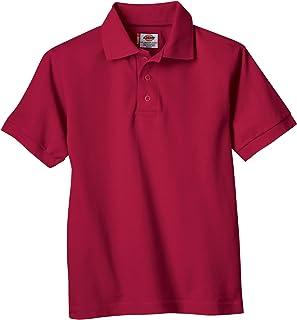 Dickies Big Boys' Short Sleeve Pique Polo Shirt, Red,...