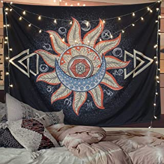 Accnicc Moon and Star Tapestry Wall Hanging Tapestries Black & White Wall Blanket Wall Art for Living Room Bedroom Home Decor(Sun, 60''x 80'')