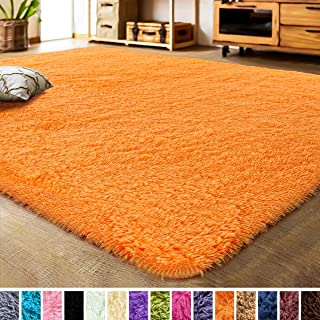 LOCHAS Luxury Velvet Living Room Carpet Bedroom Rugs, Fluffy, Super Soft Cozy, Bright Color, High Pile, Floor Area Rugs for Girls Room, Kids, Nursery and Baby (5.3x7.5 Feet, Orange)