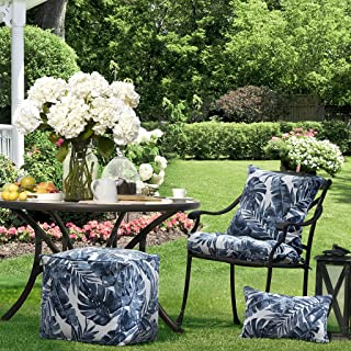 Madison Park Everett Printed Palm 3M Scotchgard Outdoor Seat Cushion for Patio Garden and Courtyard, 20