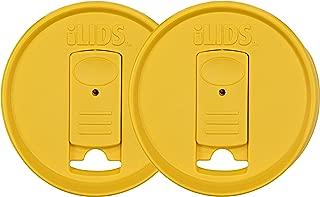 iLIDS Mason Jar Drink Lid, Regular Mouth, Yellow, 2-Pack