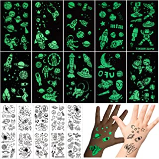 PHOGARY 10 Sheets Temporary Tattoos for Kids Luminous Tattoo Sticker Glow in The Dark (Outer Space UFO Theme) Fake Waterproof Tattoos for Boys Girls