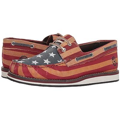 Roper American Beauty Moc (Stars & Stripes Sanded Leather) Women