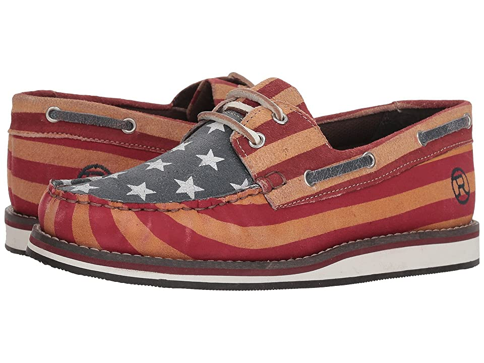Roper American Beauty Moc (Stars & Stripes Sanded Leather) Women
