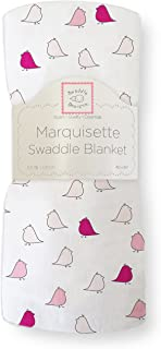 SwaddleDesigns Marquisette Swaddling Blanket, Premium Cotton Muslin, Very Berry Jewel Tone Little Chickies