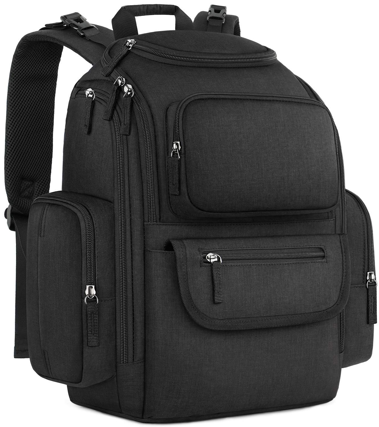Diaper Bag Backpack, Large Storage Diaper Bag with Portable Changing Pad, Travel Water Resistant Baby Diaper Backpack for Men Women with Insulated Pockets, Stroller Straps, Black
