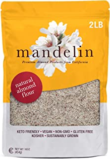 Mandelin Fresh Natural Unblanched Almond Flour - 100% Almond Flour / Meal, With Skin, Super Fine Mill, Non-GMO, Gluten Free, Vegan, Keto, Plant Based Diet Friendly (2 lb)