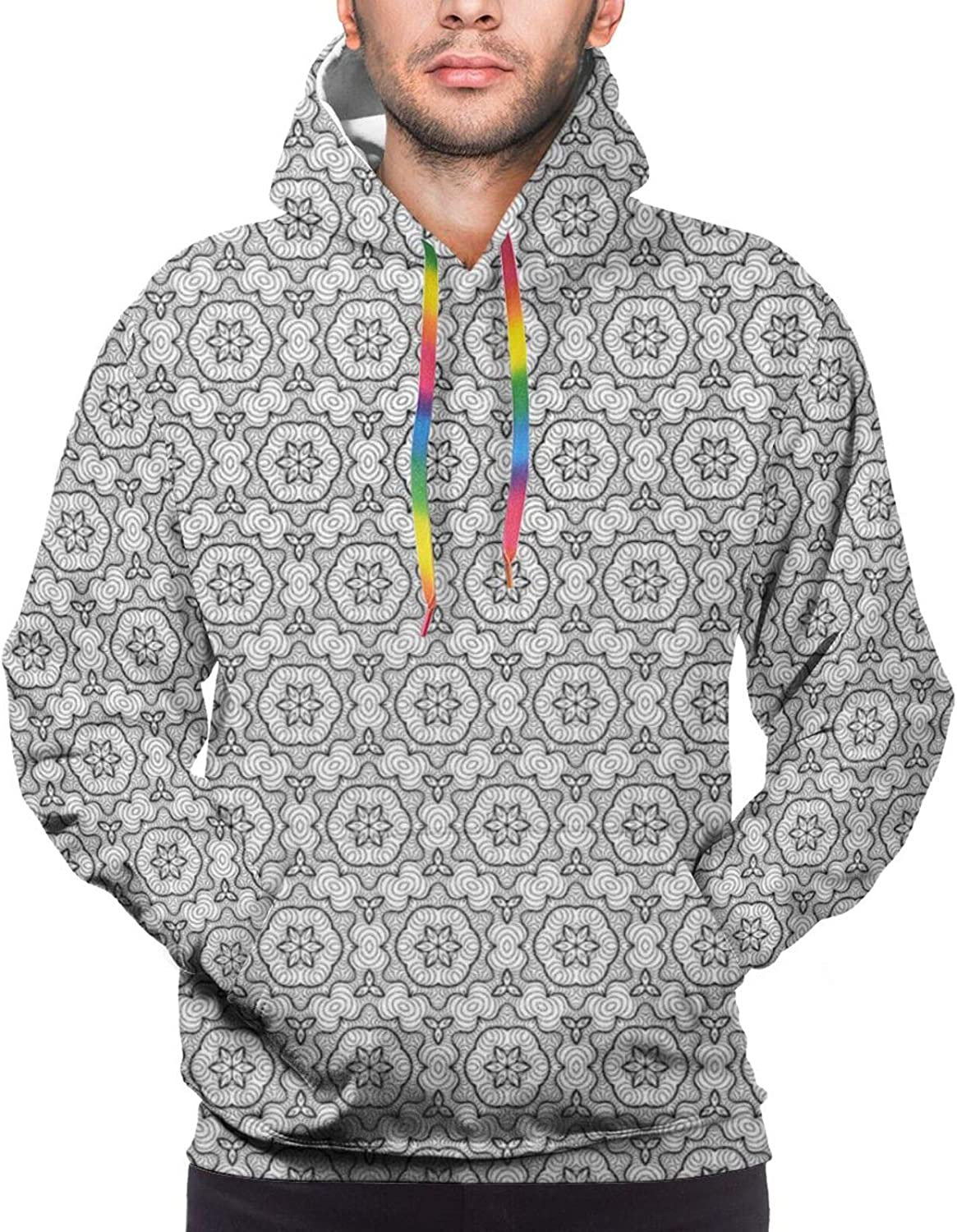 Men's Hoodies Sweatshirts,Abstract and Artistic Mandala Style Floral Symmetrical Simple Motifs Tile,Small