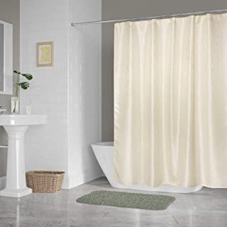DII Everyday 100% Polyester Bath Textured Fabric Shower Curtains for Bathroom, 72x72 - Cream Bamboo