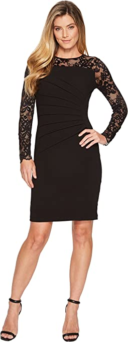 Long Sleeve Lace Dress w/ Scuba Crepe Body