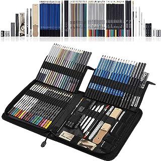 SHYOSUCCE 83 Crayons de Couleurs et Crayons de Dessin avec Accessoires de Dessin, Étui à Crayons, Crayons Aquarelle pour D...