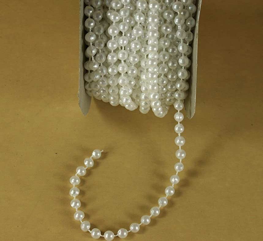 Dreampartycreation 6mm Faux Pearl Plastic Beads on a String Craft 12 Yards Roll (WHITE)