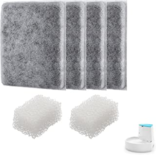 isYoung Corner Pet Foutain Filter Cotton Activeted Carbon Filters(4 Filters + 2 Sponges)