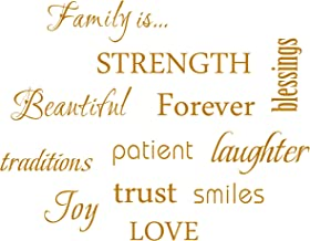 MAFENT Family Wall Decal Set of 12 Family Words Quote Vinyl Family Wall Decal Family Room Art Decoration Living Room Decor (Brown)