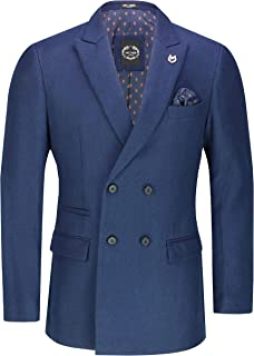Xposed Mens Double Single Breasted Blazer Smart Retro Tailored Fit Coat Classic Suit Jacket[BLZ-DB-Marco,Grey,36]
