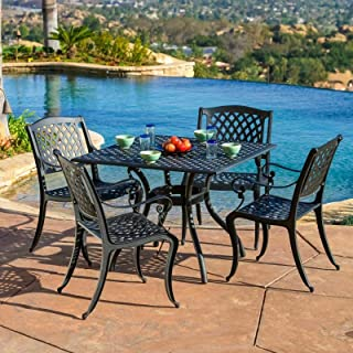 Black Cast-Iron Food Cuisine Bar with Awning Hole Top 5 Piece Garden Sturdy Durable Any Weather Condition Mest Design Aluminum Eats Rectangle Table 4 Backrest Stool