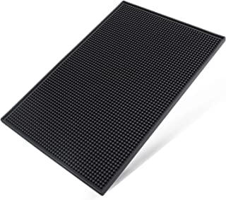 Heavy Duty Bar Mat PVC Rubber Wet Dish Drying Spill Matting 18 x 12 Inch Non Slip Heat Resistant for KTV Bar Glass, Restau...