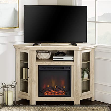 Walker Edison Alcott Classic Glass Door Fireplace Corner Tv Stand For Tvs Up To 55 Inches 48 Inch White Oak Furniture Decor