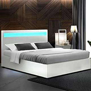 Queen Bed Frame, Artiss Gas Lift Leather Bed Frame Base with LED Headboard, White