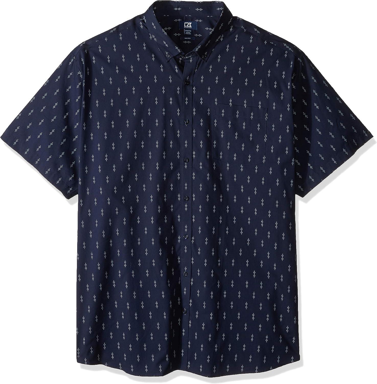 Cutter & Buck Men's Big & Tall Short Sleeve Strive Keyhole Print Button Up Shirt