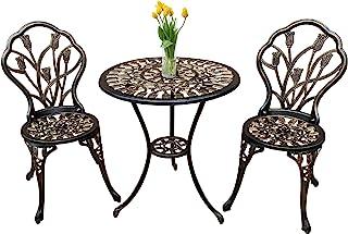 Jardin de panda Bistro Table Set, 3 Piece Outdoor Patio Set Rust-Resistant Cast Aluminum Tulip Design Outdoor Table and Chairs Furniture with Umbrella Hole (Antique Copper)