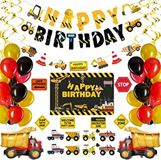 Construction Birthday Party Supplies Dump Truck Party Decorations Kits Set with 5 x 3 Ft Backdrop, Happy Birthday Banner, ...