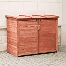 Leisure Season RSS2001L Large Horizontal Refuse Storage Shed - Brown - Wooden Refuse Cabinet for Trash Bins - Outdoor Tool and Garage Organizer – Weatherproof House and Garden Rubbish Enclosure Box