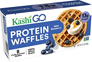 Kashi GO, Wild Blueberry, Protein Waffles, 100% Whole Grains, Non-GMO Project Verified, 10.7oz (8 Waffles)