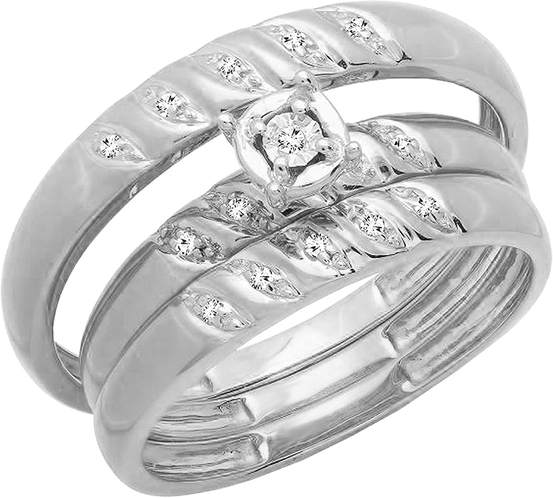 Dazzlingrock Collection 0.05 Carat (ctw) Round White Diamond Mens & Womens 3 Piece Engagement Ring Trio Bridal Set, 10K White Gold