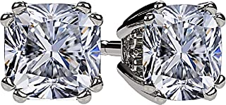 NANA Cushion-Cut Stud Earrings Swarovski Zirconia Silver & 14k Solid Gold Post 0.60cttw - 4.00ct. Weight