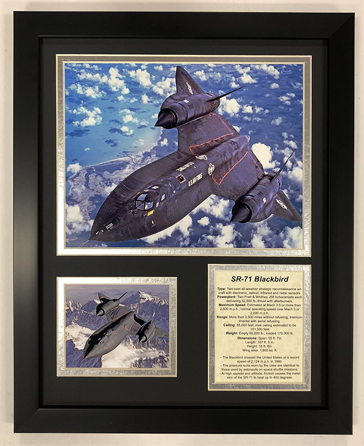 Legends Never Die SR71 Blackbird Framed Double Matted Photos, 12  x 15