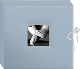 Pioneer Photo SBX12BB Pioneer 12 Inch by 12 Inch 3-Ring Leatherette Inset Frame and Ribbon Closure Memory Book Box, Baby Blue
