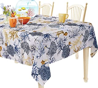 YEMYHOM 100% Polyester Spillproof Tablecloths for Rectangle Tables 60 x 104 Inch, Modern Printed Indoor Outdoor Camping Picnic Rectangular Table Cloth (Blue Tree)