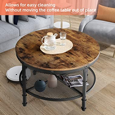 STHOUYN Small Round Coffee Table with Storage, Rustic Center Table for Living Room, Wood Surface Top & Metal Legs & O