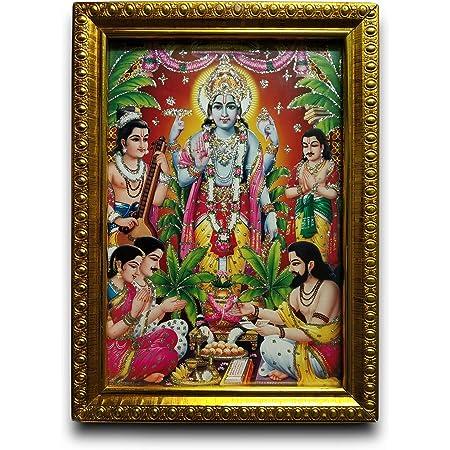 Urbans Hub Satyanarayana Swami Photo with Glass Frame with Free 1 Premium Dress - 20.32 x 15.24 x 2.54 cm