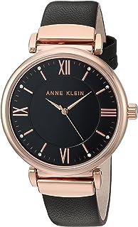 Anne Klein - Reloj de pulsera (correa de piel, color negro y dorado)