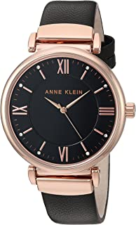 Anne Klein Women's AK/2666RGBK Swarovski Crystal Accented Rose Gold-Tone and Black Leather Strap Watch