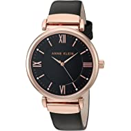 Women's AK/2666RGBK Swarovski Crystal Accented Rose Gold-Tone and Black Leather Strap Watch