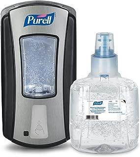 PURELL Advanced Green Certified Hand Sanitizer Gel, Fragrance Free, Smart LTX-12 Starter Kit, 1 – 1200 mL Sanitizer Refill + 1 – Smart LTX-12 Chrome/Black Touch-Free Dispenser - 1903-SMRT-AMZCB