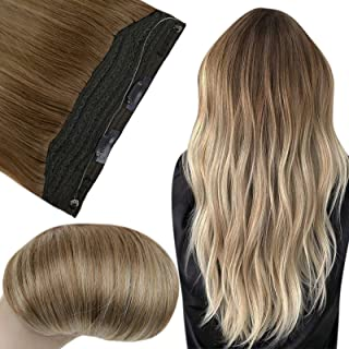 Fshine Hidden Wire Halo Hair Extensions 20 Inch Real Human Hair Balayage Hairpiece 10-14 Golden Brown Fading to Golden Blo...