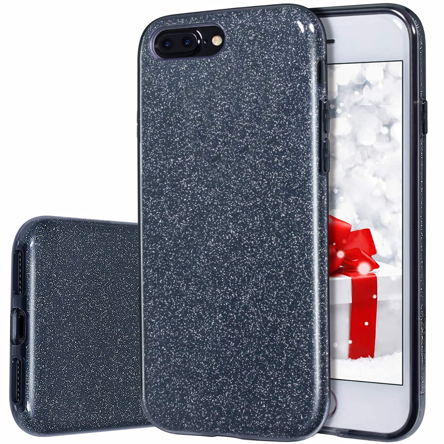 iPhone 8 Plus Case, MILPROX iPhone 7 Plus Glitter Sparkly Pretty Cute Premium 3 Layer Hybrid Anti-Slick/Protective/Soft Slim Thin Case for Girls/Women iPhone 7 Plus / 8 Plus - Black