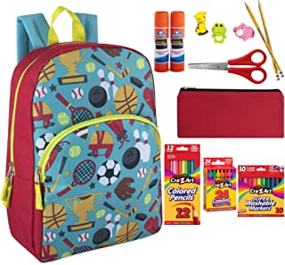 Baseball Football Bowling Backpack for girls or boys. 59 Count School Crafts Supplies Bundle