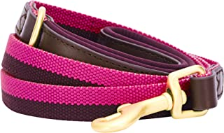 Blueberry Pet Lead with Soft & Comfortable Handle, 120 cm x 2cm Classic Staple Striped Genuine Leather and Polyester Webbing Dog Lead in Hot Pink & Purple, Leads for Dogs