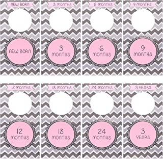 Baby Closet Size Dividers for Nursery - Clothing Divider Tags - Newborn Infant to Toddler Clothes - Unisex Boy or Girl - Chevron Pink