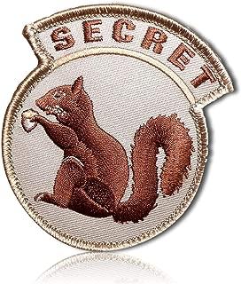 Top Secret Realistic Undercover Squirrel Chipmunk Animal Holding Acorn Gear USA Circle Circular Tactical Badge Tab Hook & Loop Fastener Patch [3.2