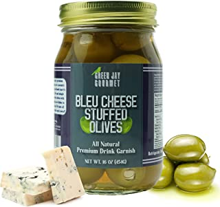 Green Jay Gourmet Blue Cheese Stuffed Olives – Cheese Stuffed Green Olives for Cocktail Garnish & Cheese Bo...