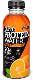 BiPro Protein Water & Caffeine Energy Drink, Orange - NSF Certified for Sport, 20g Whey Protein, Sugar Free, Suitable for ...